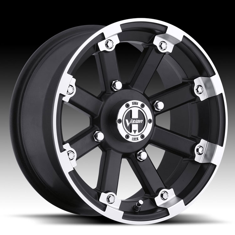 12 x 8 lockout matte black utv wheel with machined lip sciox Gallery